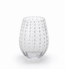 Stemless white dot wineglass