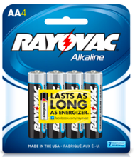 Rayovac Alkaline AA Batteries, 4 Pack