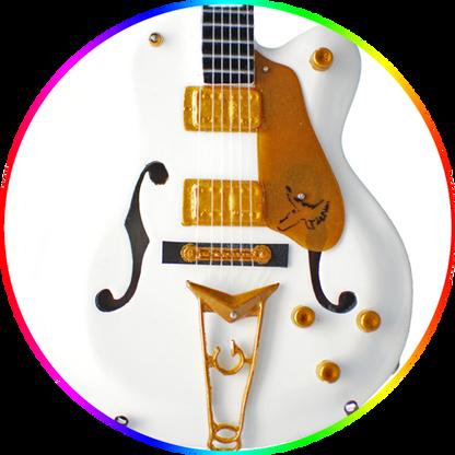 Brian Setzer Miniature Guitar Replica Collectible Stray Cats White Falcon Signature