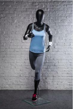 Pat, Fiberglass Athletic Abstract Egg Head Matte Black Female Running Mannequin MM-PB4BK02
