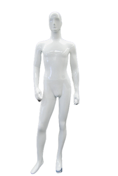 Ray, Gloss White Abstract Egg Head Male Mannequin with face features MM-XDM03