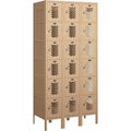 Vented Metal Six Tier Locker, Tan, 3-Wide