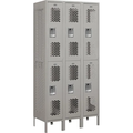 Two Tier Locker, Gray Metal, 3 Wide