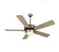 "52"" Dual-Mount Ceiling Fan - Brushed Nickel - Contemporary Light Kit"