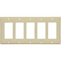 COOPER DECORATOR WALLPLATE FIVE GANG COVER IVORY 2165V -BOX