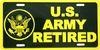 License Plate, US Army Retired