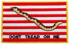 Iron On Patch, Don't Tread On Me, Red & White Stripes