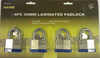 Padlock, 4pc 50MM Laminated