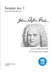 Bouree No. 1 - J. S. Bach, Harp Duo, arr. Rhett Barnwell - PDF