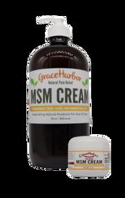 MSM Cream, Fragrance-Free, 32 oz. Glass Bottle  Plus Free 1.8 oz. Plastic Jar