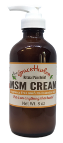MSM Cream, Fragrance-Free, 8 oz. Glass Bottle