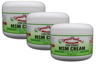Value Pack - Extra-Strength MSM Cream (with Essential Oils), Three 8 oz. Plastic Jars