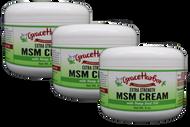 Value Pack - Extra-Strength MSM Cream (with Essential Oils), Three 8 oz. Plastic Jars
