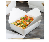 White Microwavable Folded Paper #3 Take-Out Container - 200/Case
