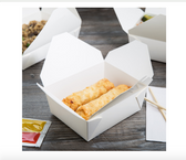 White Microwavable Folded Paper #8 Take-Out Container - 300/Case
