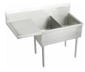 "2 POT SINK NEW WITH LEFT DRAIN BOARD 18""X18""X11"" TUB - 56""W"