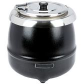 11 Qt. Round Black Countertop Food / Soup Kettle Warmer - 120V, 400W