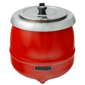 11 Qt. Round Red Countertop Food / Soup Kettle Warmer - 120V, 400W