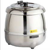 11 Qt. Round Stainless Steel Countertop Food / Soup Kettle Warmer - 120V, 400W