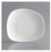 "Acopa Nova 7 1/8"" x 6 1/2"" Cream White Asymmetric Plate - 6/Pack"