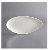 "Acopa Nova 13"" x 6 1/4"" Cream White Slim Triangle Coupe Porcelain Plate - 12/Case"