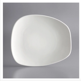 "Acopa Nova 10 1/2"" x 9 1/4"" Cream White Asymmetric Plate - 12/Case"