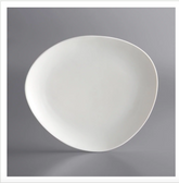 "Acopa Nova 10 1/4"" Cream White Organic Coupe Porcelain Plate - 12/Case"