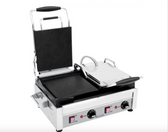 """Eurodib SFE02360 Double Panini Grill with Smooth Plates - 17"""" x 9 1/4"""" Cooking Surface - 220V, 2900W"""