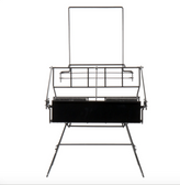 """Choice 14"""" x 10"""" x 9 7/8"""" Black Wire 2 Compartment Airpot Rack with Drip Trays"""