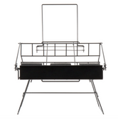 """Choice 19"""" x 11 1/2"""" x 12 1/4"""" Black Wire 3 Compartment Airpot Rack with Drip Trays"""