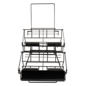 "Choice 14"" x 23 1/8"" x 17 1/2"" Black Wire 4 Compartment Airpot Rack with Drip Trays"