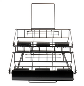 "Choice 20 1/4"" x 23 5/16"" x 17 3/8"" Black Wire 6 Compartment Airpot Rack with Drip Trays"