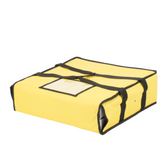 """Choice Insulated Pizza Delivery Bag, Yellow Nylon, 18"""" x 18"""" x 5"""" - Holds Up To (2) 16"""" Pizza Boxes or (1) 18"""" Pizza Box"""