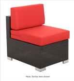 BFM Seating PH5101JV-MW Aruba Java Wicker Outdoor / Indoor Wide Armless Cushion Chair