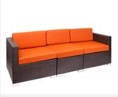 BFM Seating PH5101JVW-54010 Aruba Java Wicker Outdoor / Indoor Sectional Sofa with Rust Canvas Cushions
