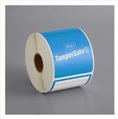 "TamperSafe 2 1/2"" x 6"" Customizable Blue Paper Tamper-Evident Label - 250/Roll"