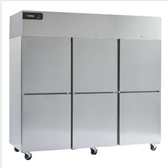 """Delfield GBSF3P-SH Coolscapes 83"""" Top-Mount Three Section Half Door Stainless Steel Reach-In Freezer - 71 cu. ft."""
