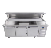 """Traulsen TB091SL3S 91"""" 3 Door Refrigerated Pizza Prep Table with 3 Pan Rails"""