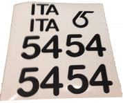 Custom Cut Vinyl Sail Number Set with Country Code and Class Logo. The Example shown is for the RG65 Class