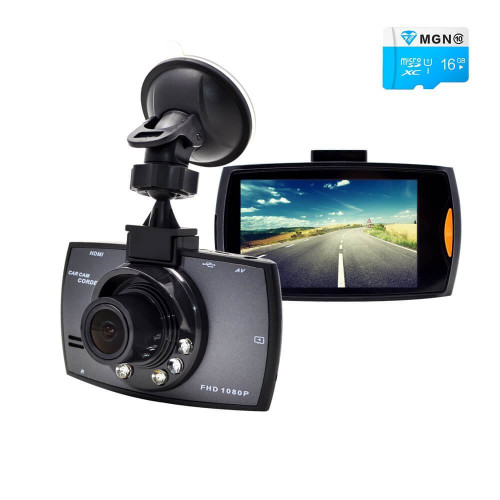 Dash Cam, with 16GB Micro SD Card Included Night Vision G-Sensor Parking Monitor Functions Full HD 1080P Dash Camera For Cars 2.7 Inch Screen 140 Degree Wide Angle Len