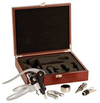 5 Piece Rosewood Finish Wine Gift Set
