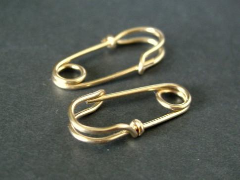 Mini Safety Pin Earrings 14k Solid Gold Mu Yin Jewelry
