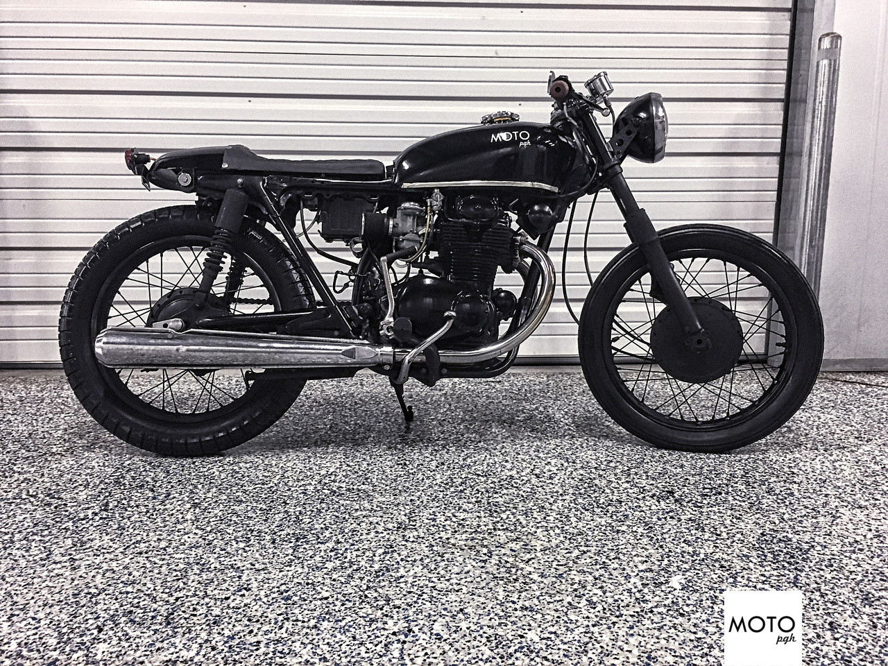 SOLD964 1972 Honda CB350 Black On Cafe Racer