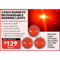 3 Pack Magnetic Rechargeable Warning Lights - JUST ARRIVED