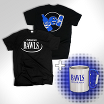 Retro Fueled By BAWLS Black Shirt & BAWLS Mug Bundle