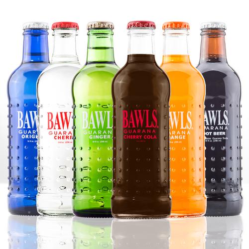 BAWLriet Bottle Pack includes 2 Cherry Cola, 2 Ginger, 2 Orange, 2 Root Beer, 2 Cherry, and 2 Original BAWLS bottles.
