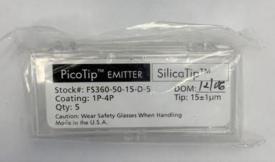 New in box. Distal coated fused silica ProTips; 360 um OD, 50 um ID, 15 +/- 1.5 um tip ID (5 pk).