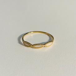 14k gold beaded infinity twist ring
