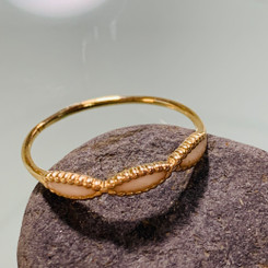 14k gold beaded infinity twist ring