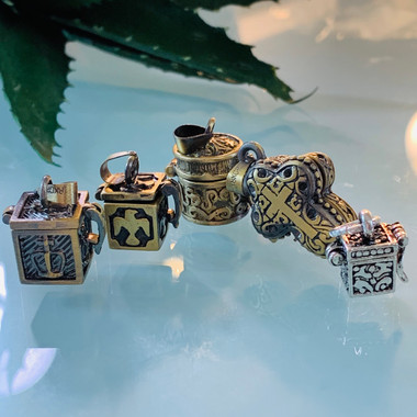 crown, dove, cylinder, cross, tiny silver box